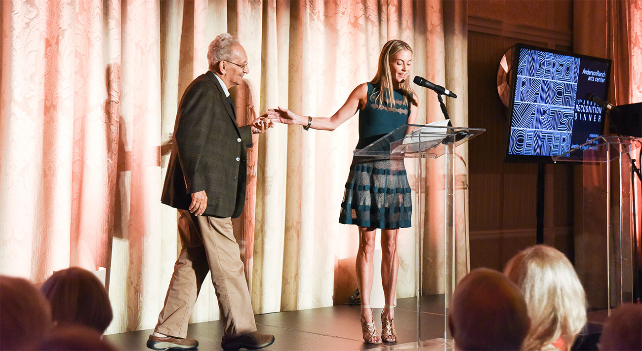 Sue Hostetler presenting artist Frank Stella the Anderson Ranch National Artist Honoree Award